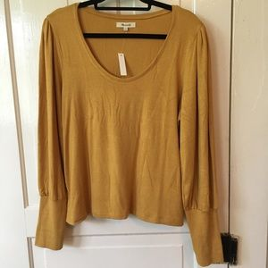 NWT Madewell Mustard Yellow Gold Puffy Sleeves Top